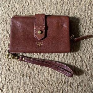 FOSSIL - authentic, brown wristlet